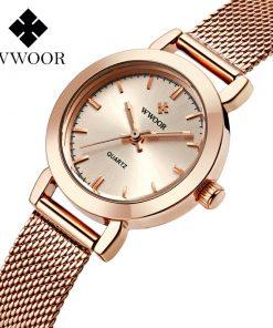 WWOOR marque de luxe montre femmes Bracelet montre or Rose en acier maille Quartz dames montres étanche montre pour femmes montre femme